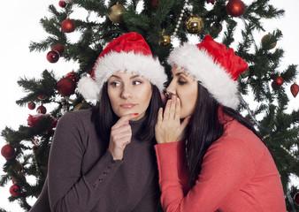 Two women near christmas tree gossip