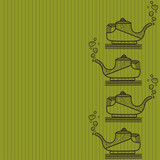 Pattern of silhouette of teapot on a lime background