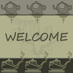 Pattern with greeting contoured hands and teapots