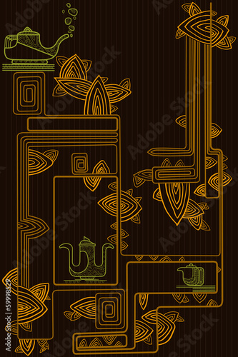 Stylish geometric spiral background with teapots