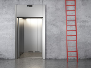 elevator and red stair