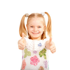 Smiling kid showing thumbs up symbol.