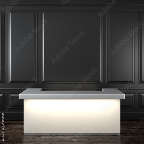 Glowing reception in black interior