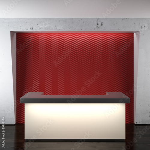 Glowing reception in modern office