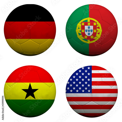 3D soccer balls with group G teams flags, Football Brazil 2014.