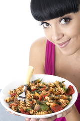 Young Woman Eating Pasta Salad