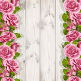 Wooden background for your text with pink roses