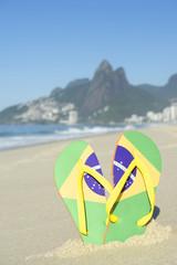 Brazilian Flag Flip Flops Sandals Ipanema Beach Rio