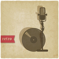 old background with microphone and record - vector illustration