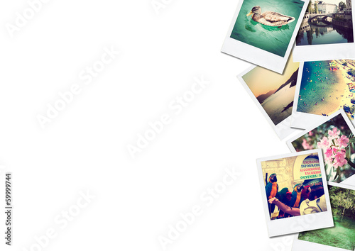 canvas print picture A pile of photographs with space for your logo or text.