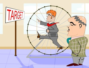 Retro illustration with businessman in a hamster wheel.