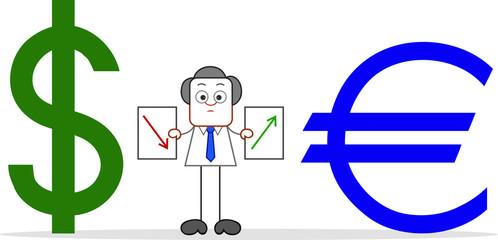 Cartoon Businessman With Dollar Down, Euro Up