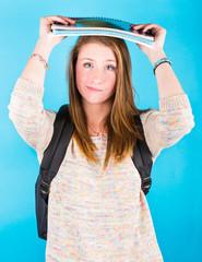 Sad Girl with Books on the Head