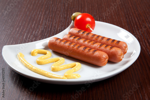 Grilled wurstel with mayonnaise