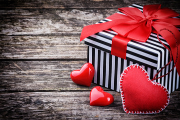 Valentine's gift box with red hearts