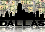 Dallas skyline reflected with dollars illustration