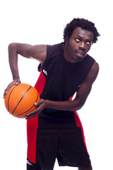 Basketball player with ball, isolated on a white background