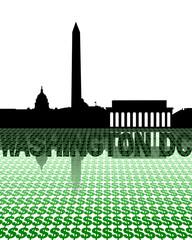 Washington DC skyline reflected with dollar symbols illustration