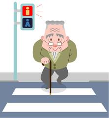 横断歩道をわたるシニア