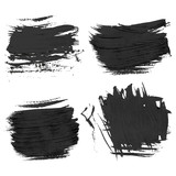 Chaotic rough realistic brush strokes with thick paint 2. Vector