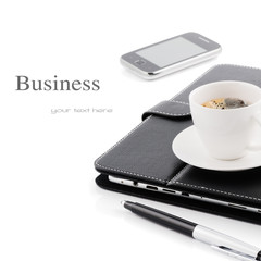 Business concept. Morning coffee cup