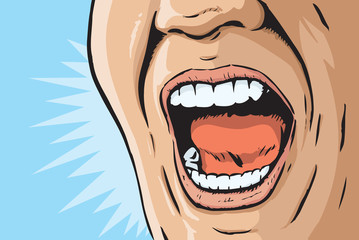 Comic book yelling mouth