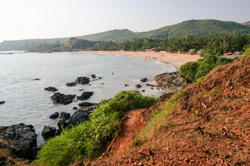 view to om beach in india karnataka from a hilltop