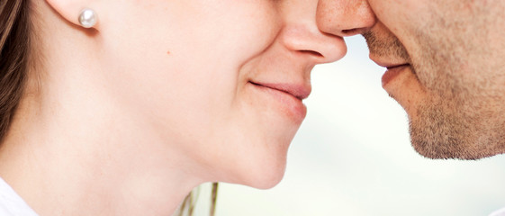 couple just about to kiss