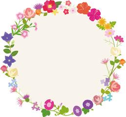 花の円形フレーム
