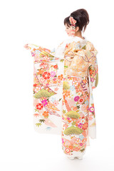 japanese kimono woman on white background