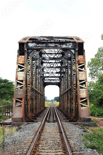 Old  Steel train bridge across the river