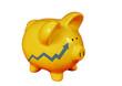 Golden Piggy bank with financial graph chart