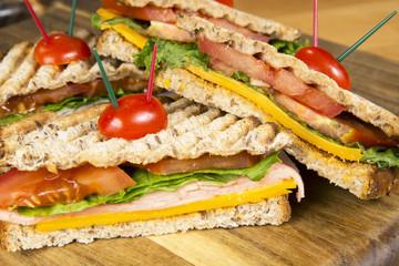 Ham panini grilled Italian sandwich