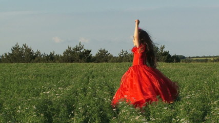 Girl in a red dress in a summer field on a sunny day.
