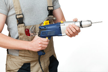 Worker with drill
