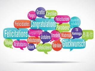 nuage de mots : félicitations (multilangue) cs5