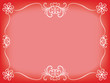 red background with white floral frame for Valentines Day