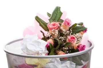 Flowers in dustbin