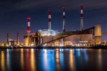 New York  Ravenswood Generating Station at dusk