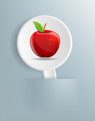 drawing a red apple on a white plate
