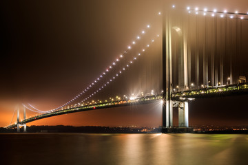 Verrazano-Narrows Bridge on a foggy night