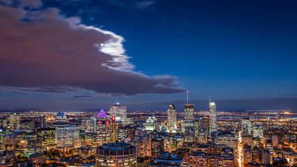 Aerial view of the Montreal skyline at night