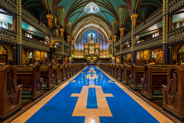 Interior of Notre-Dame cathedral in Montreal