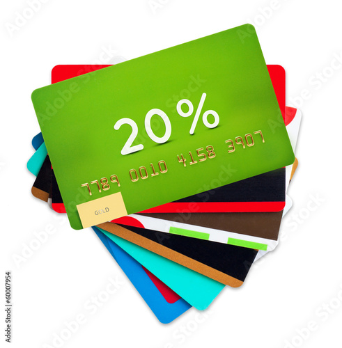 Credit, discount cards isolated on white background.