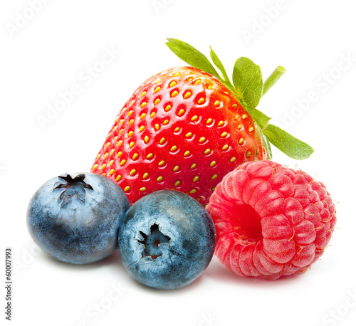 Raspberry, Strawberry and Blueberry Isolated on White Background