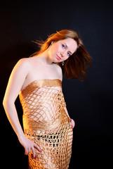 Girl wrapped in a studio net