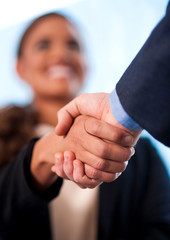 A handshake between business people