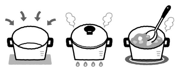 鍋 料理 モノクロ