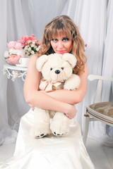 woman and teddy bear