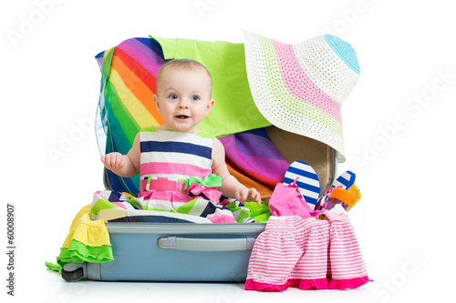 Kid girl sitting in suitcase